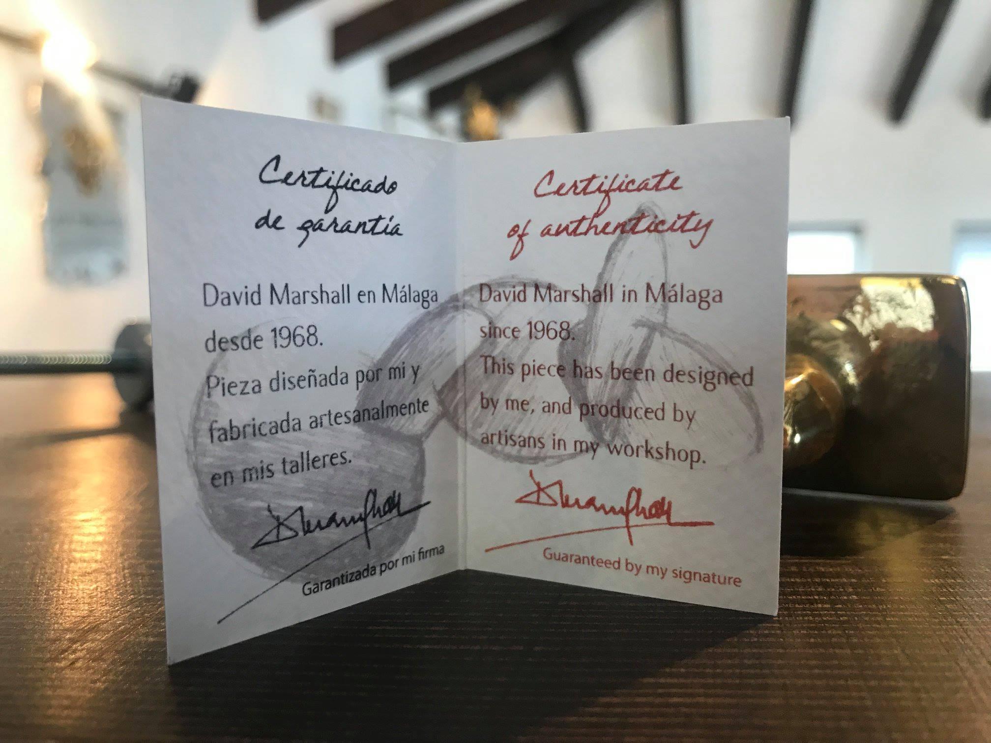 certificado de autenticidad de David Marshall interior